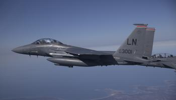 Ameerika Ühendriikide õhuväe hävitajad F-15E Strike Eagle Eestis õppusel.