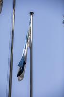Спуск эстонского флага у штаб-квартиры миссии Resolute Support в Афганистане.