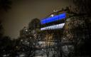 Stenbock House in Tallinn lit up blue, black and white in honor of Estonia's centennial on Saturday. Feb. 19, 2018.