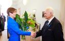 President Kersti Kaljulaid congratulates President Arnold Rüütel on his 90th birthday, May 10, 2018.