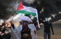 Palestiina lipuga ja Anonymouse maskiga meeleavaldajad seisavad põlevate rehvide ees.