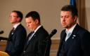 Sven Mikser, Jüri Ratas ja Urmas Reinsalu pressikonverentsil