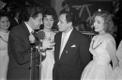 Tallinna televisioonistuudio aastavahetuse pidu Pirita restoranis: Anne   Roiha, Kalmer Tennosaar, Helle Barbo, Gennadi Podelski, Anne Peterson.   1962/63