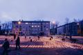 Candles being lit in Narva's Town Hall Square in memory of those deported in March 1949. 25 March 2019.