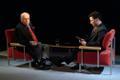 Lennart Meri ja Šveitsi televisiooni ajakirjanik. 2004