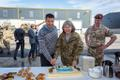Theresa Bubbear with Prime Minister Jüri Ratas and Lt. Col. Gus TIlney of the KRH at Tapa last year.