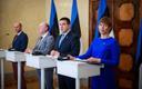 President Kersti Kaljulaid, Keskerakonna esimees, peaminister Jüri Ratas, EKRE esimees, siseminister Mart Helme, Isamaa esimees Helir-Valdor Seeder.