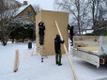 Jaak Joala monument Viljandis kaeti kinni