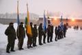 Pidulik lipuheiskamise tseremoonia vabariigi aastapäeva hommikul Narvas.