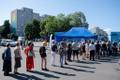 Vaccinations in progress at Tallinn's central market.