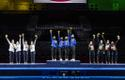 Estonia women's epee team presented with Olympics Gold medals in Tokyo, Tuesday July 27.