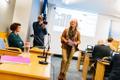 Eha Võrk at the Tallinn city council no-confidence motion.