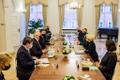 PrePresident Alar Karis Riias kohtumas parlamendi spiikri Inara Murniecega