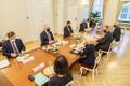 President Alar Karis Riias kohtumas parlamendi spiikri Inara Murniecega