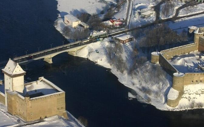 The Narva River separates Estonia, and the town of Narva, from Russia, and Ivangorod.
