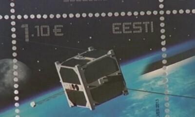 Eesti satelliidile pühendatud postmark.