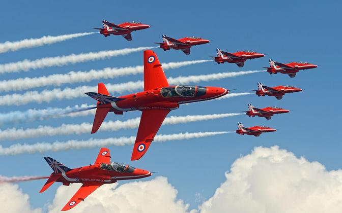 The Red Arrows in flight.