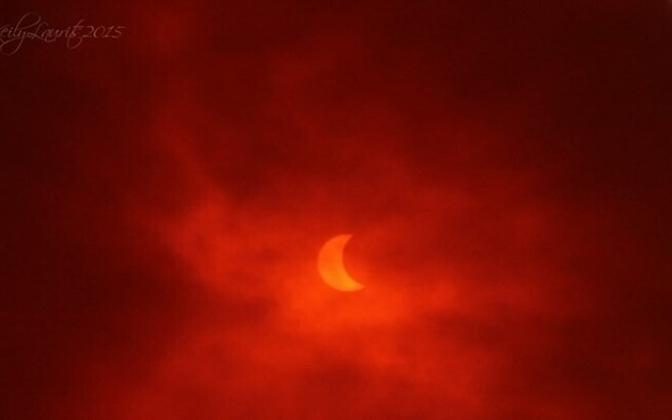 Solar eclipse as viewed over Estonia in 2015.