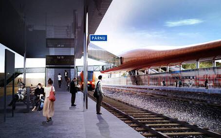 Rail Baltic Pärnu reisijate terminali arhitektuurivõistluse võitnud kavand Water Strider.