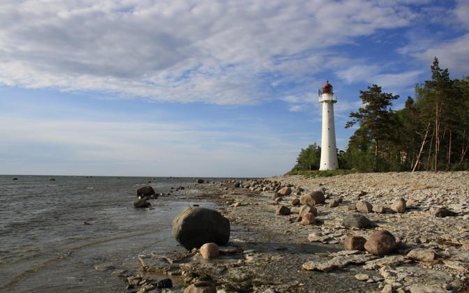 Saxby beach and lighthouse on the island of Vormsi.