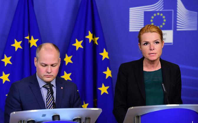 Rootsi migratsiooniminister Morgan Johannson (vasakul) ja tema Taani kolleeg Inger Stojberg täna Brüsselis