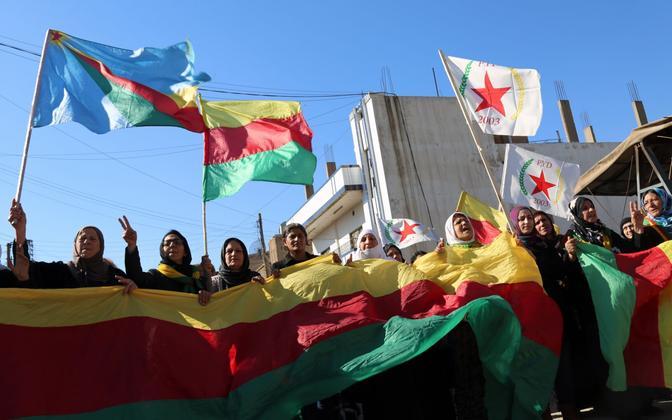 Süüria kurdid avaldamas meelt selle vastu, et neid Genfi rahukõnelustelt kõrvale jäeti