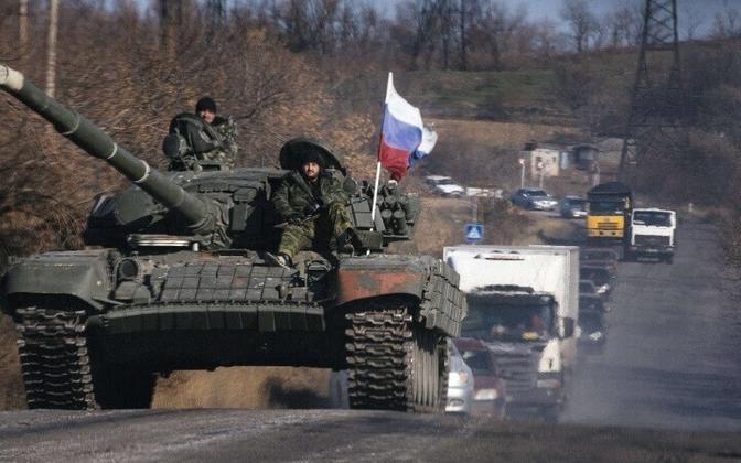 Танк пророссийских сепаратистов в Луганской области. Октябрь 2014 года.