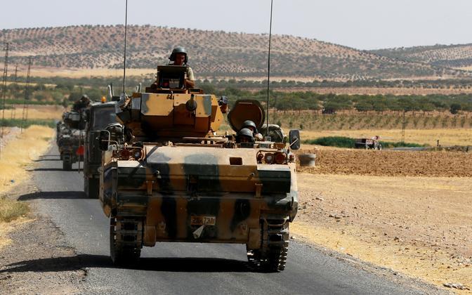 Türgi sõjaväelased Türgi-Süüria piiri lähistel.