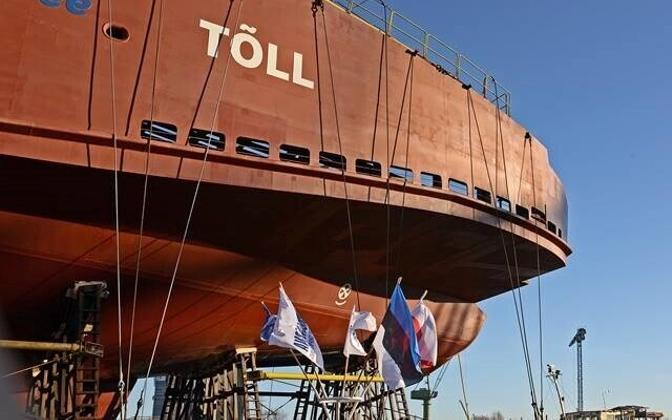 Estonian ferry Tõll as it was being built at the Remontowa Shipyard in Poland. Feb. 23, 2016.