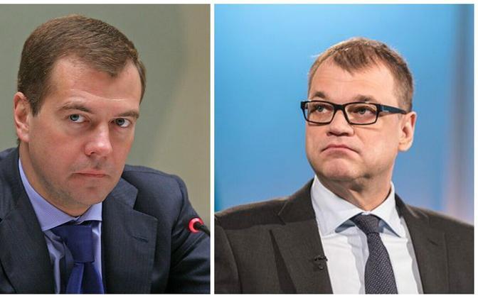 Премьер-министры России и Финляндии Дмитрий Медведев и Юха Сипиля.