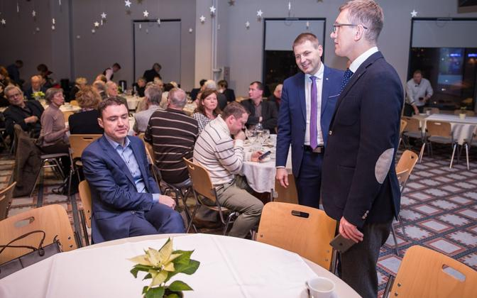Outgoing chairman and former prime minister Taavi Rõivas (left), candidates Hanno Pevkur and Kristen Michal.