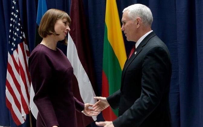 President Kersti Kaljulaid ja USA asepresident Mike Pence kohtumisel Münchenis.