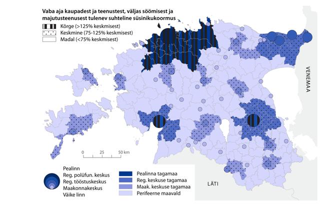 Vabaajakaupadest ja -teenustes, väljas söömisest ja majutusteenusest tulenev suhteline süsinikukoormus Eesti eri piirkondades.