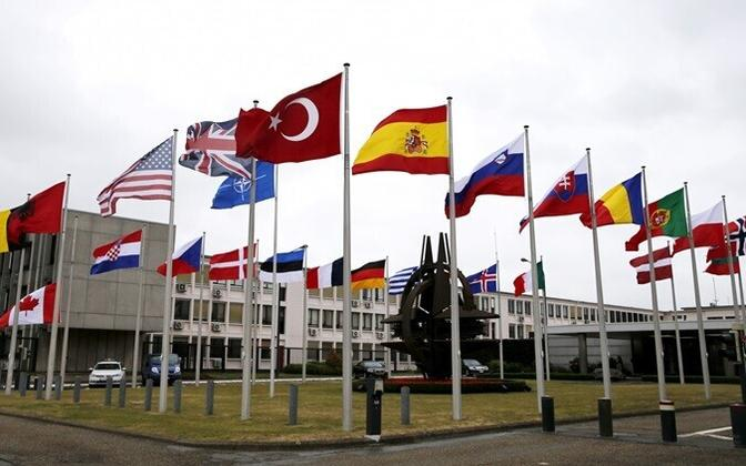 Allied flags at NATO Headquarters in Brussels.