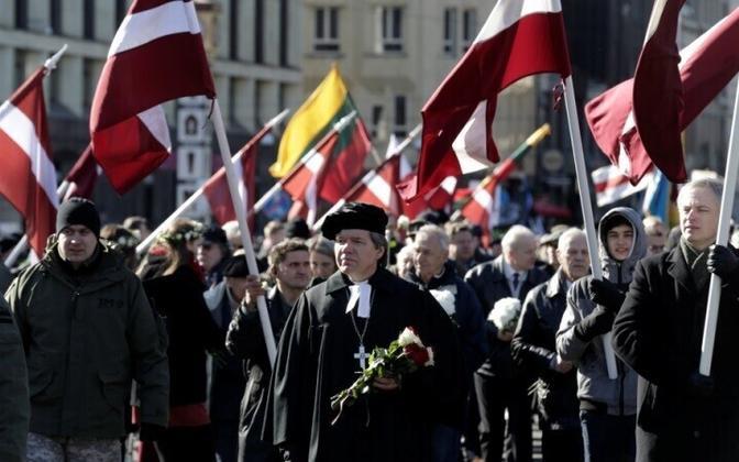Около 2000 человек приняли участие в шествии, посвященном неофициальному дню памяти латышских легионеров СС.
