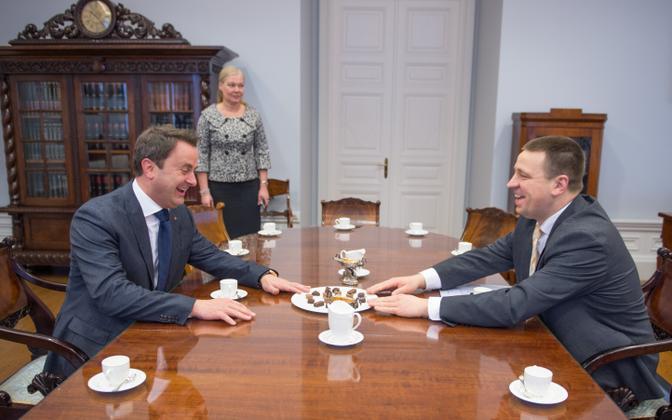 Prime Ministers Xavier Bettel and Jüri Ratas met in Tallinn on Friday. March 17, 2017.