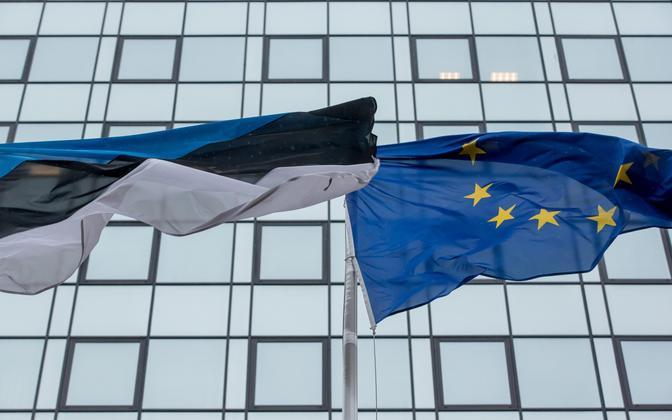 Eesti ja Euroopa Liidu lipp.