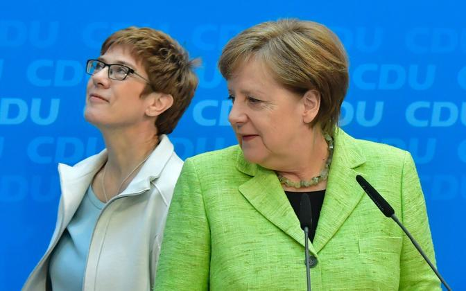 Saarimaa CDU esinumber Annegret Kramp-Karrenbauer ja liidukantsler Angela Merkel.