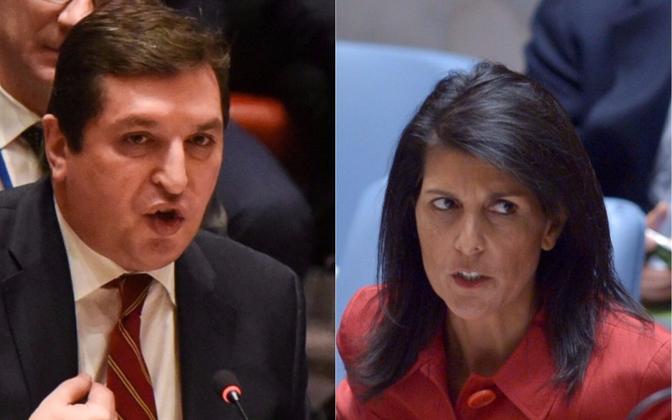 Venemaa suursaadiku asetäitja Vladimir Safronkov ja USA suursaadik Nikki Haley.