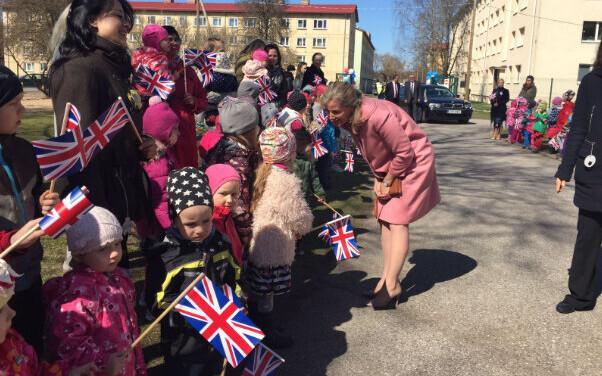 The Countess of Wessex greets the children of Pallipõnn Kindergarten in Tallinn. May 2, 2017.