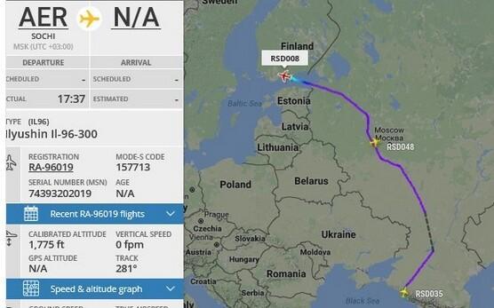 Lavrovi lennuk Soome suundumas.