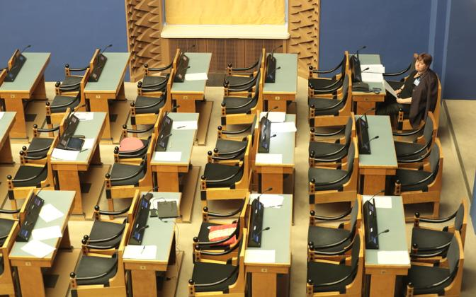 MP seats in the Session Hall of the Riigikogu.