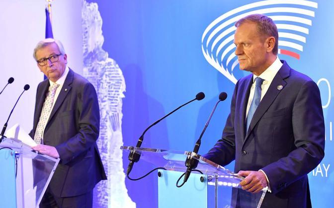 Jean-Claude Juncker (vasakul) ja Donald Tusk.