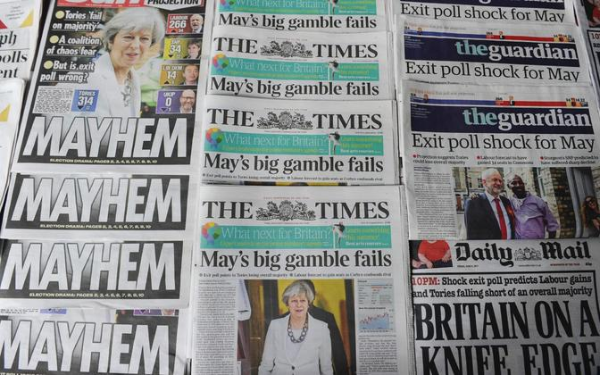 British newspapers on Friday morning focused on the projected results of Thursday's snap general election. June 9, 2017.