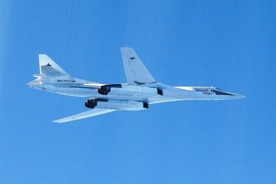 A Russian Tupolev Tu-160 strategic bomber.