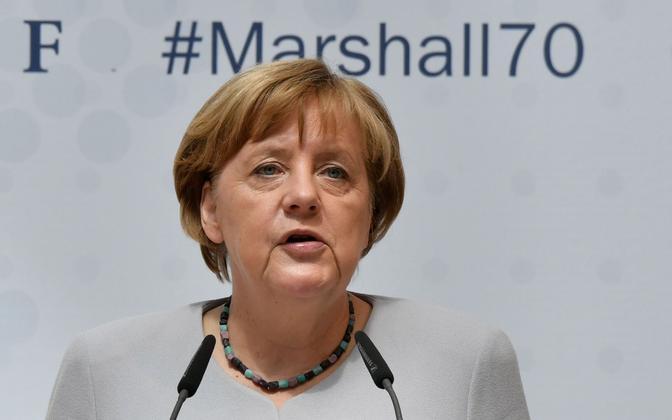 Angela Merkel Berliinis Marshalli plaani 70. aastapäeva puhul peetud konverentsil.