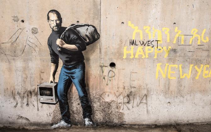 Banksy töö Calais´ põgenikelaagris.