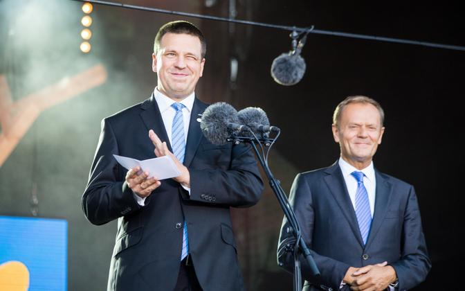 Prime Minister Jüri Ratas (Center) and President of the European Council Donald Tusk (right) at the opening ceremony of the Estonian presidency of the Council of the EU at Tallinn Creative Hub. June 29, 2017.