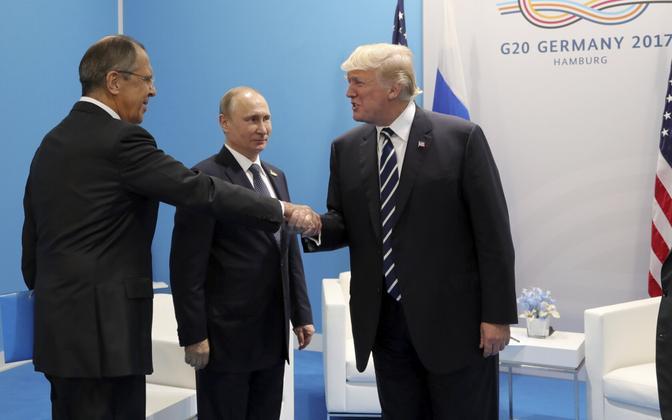 Sergei Lavrov, Vladimir Putin ja Donald Trump 7. juulil Hamburgis.