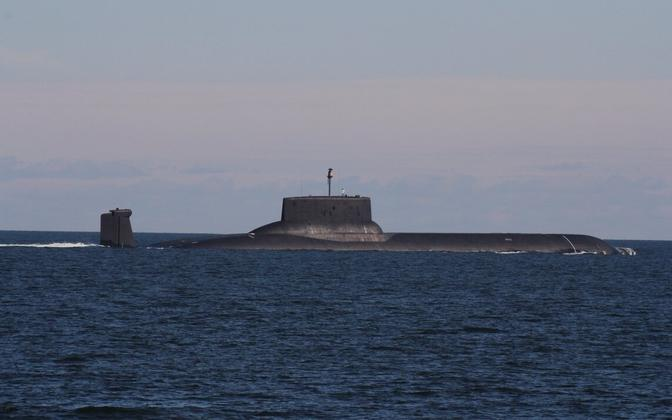 The world's largest nuclear submarine, the Dmitriy Donskoi, in the Gulf of Finland on July 24, 2017.